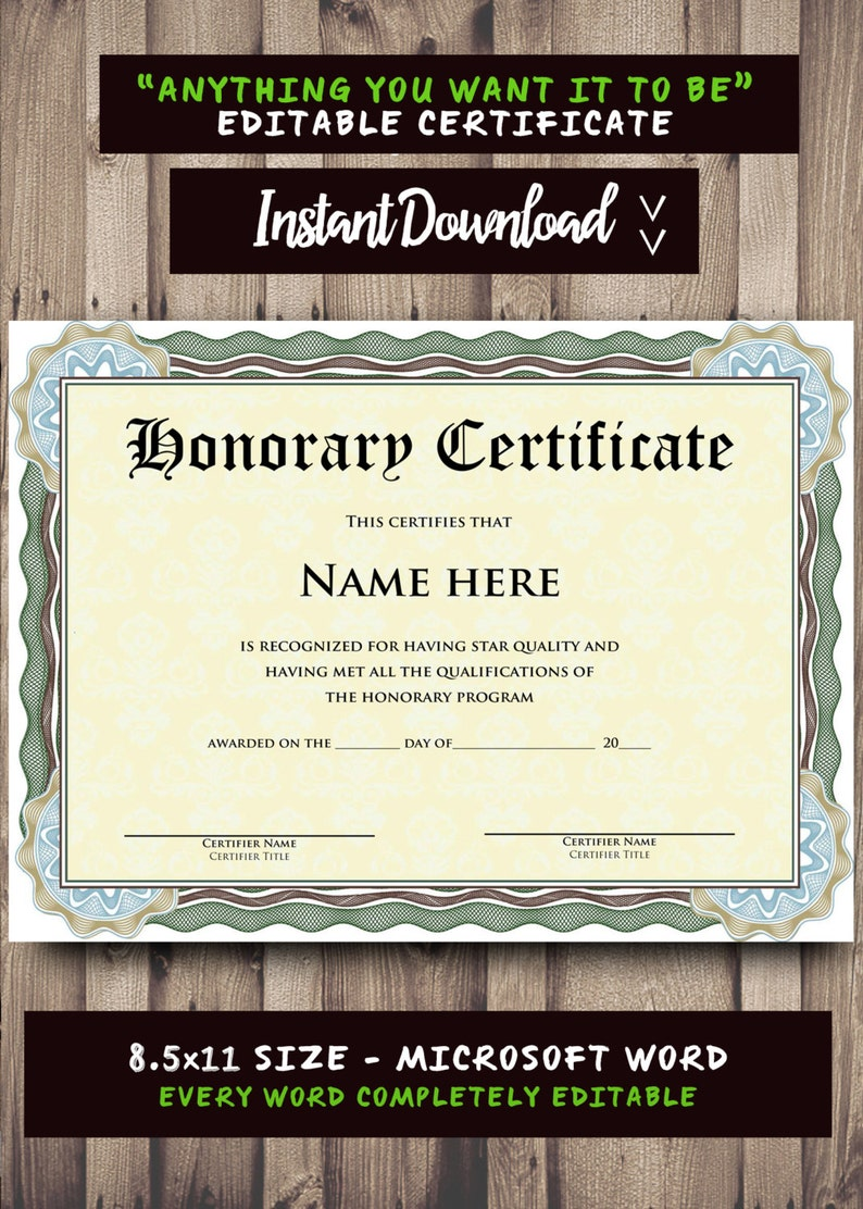 Printable Certificate Template Microsoft Word Editable Template Etsy
