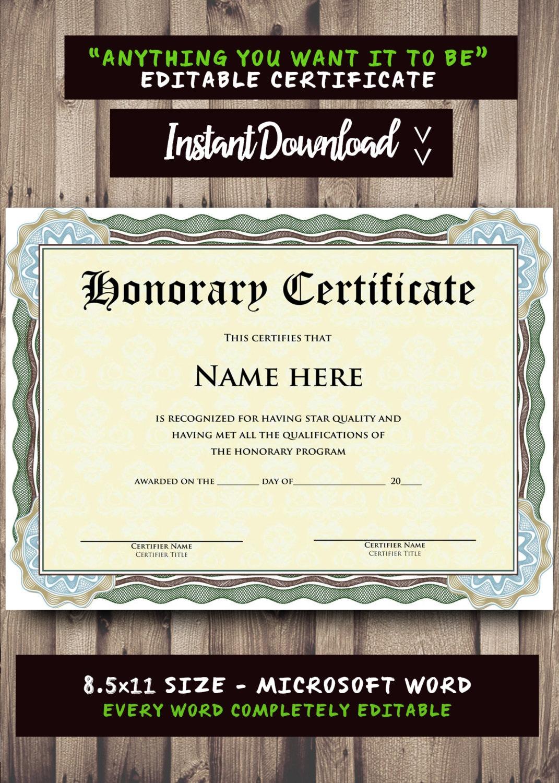 Druckbare Zertifikat Vorlage Microsoft Word bearbeitet