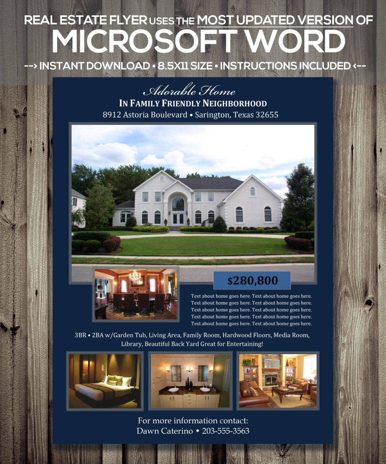 Real Estate Flyer Template Microsoft Word Cx Version Etsy