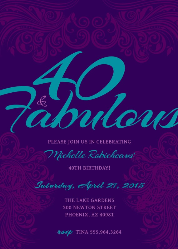 40 And Fabulous Custom 40th Birthday Invitation Choose