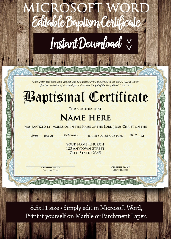 Baptism Certificate Template Microsoft Word Editable File Etsy