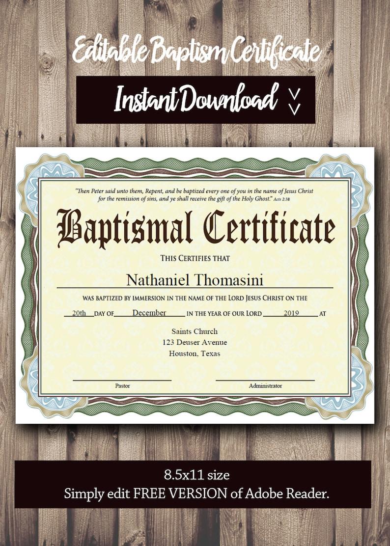 Editable Baptism CERTIFICATE Template - PDF Adobe Reader Editable File -  Printable Certificate Template - Instant Download