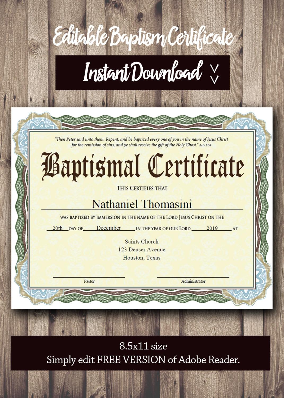 Editable Baptism Certificate Template Pdf Adobe Reader Etsy