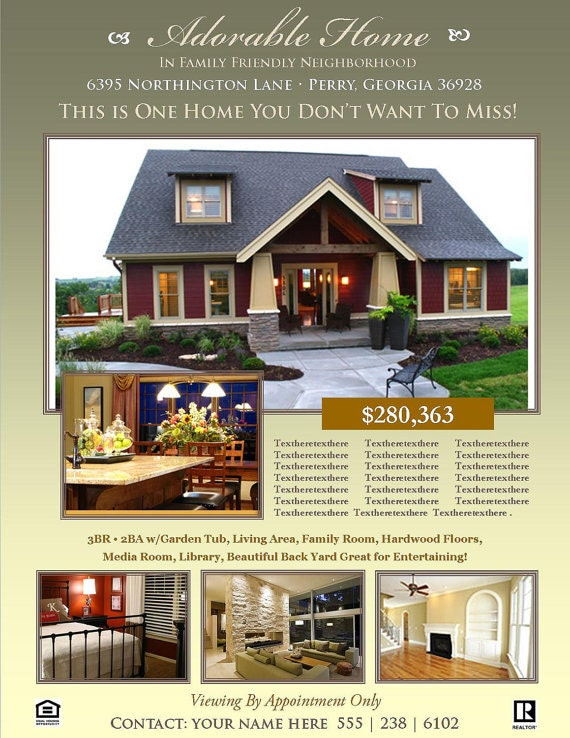 REAL ESTATE FLYER Template Microsoft Publisher Template Etsy