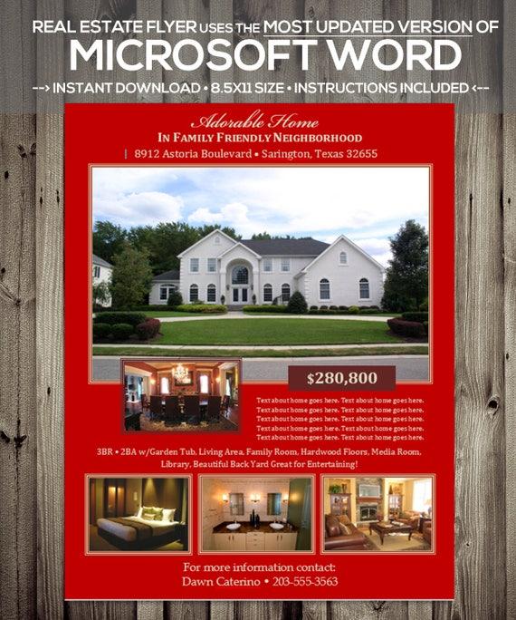Immobilien Flyer Vorlage Microsoft Word Docx Version Etsy