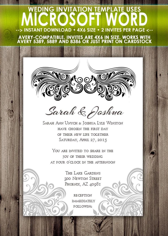 Printable Wedding Invitation - Microsoft Word Template - 4x6 - 2 per page