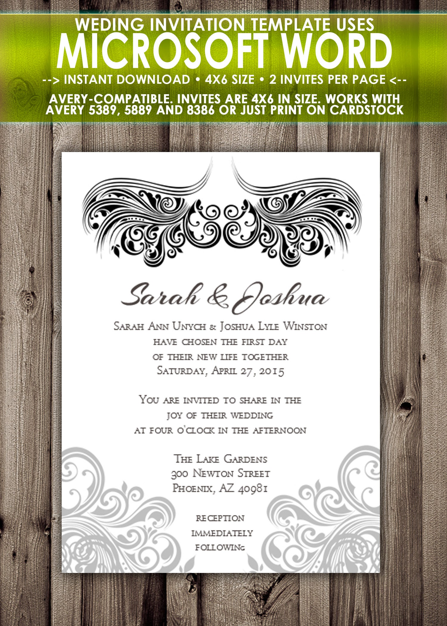 Printable Wedding Invitation Microsoft Word Template 4x6 Etsy