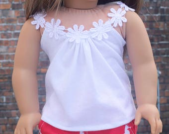 18 Inch Doll Clothes | White Flower Trim TOP for 18 Inch Doll