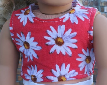 American Made | Orange Daisy Floral Print CROP TANK TOP 18 Inch Dolls