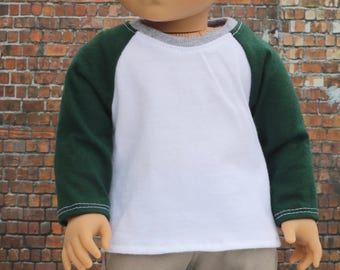 American Boy Doll Clothes - White with Forest Green BOY Long Sleeve Raglan BASEBALL TEE for 18 Inch Doll
