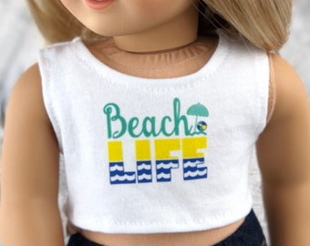 American Made Doll Clothes | Beach Life Graphic CROP TANK TOP for 18 inch doll