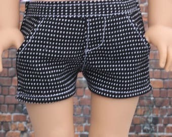 18 Inch Girl Doll Clothes | Black White Pin Dot Tweed SHORTS American Made