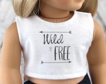 American Made Doll Clothes | Wild and Free with Arrows CROP TANK TOP for 18 inch doll