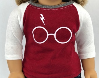 Doll Clothes | Trendy Wizard Graphic 3/4 Sleeve Fitted BASEBALL TEE for 18 Inch Doll