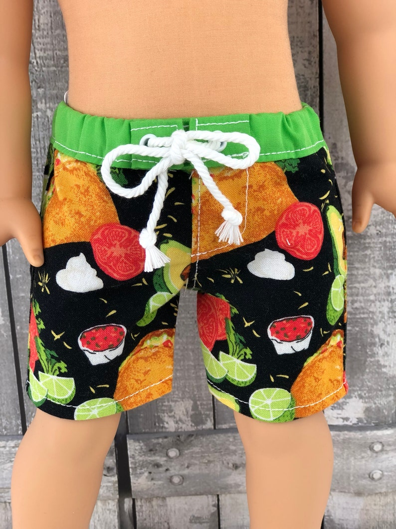 973044272d Taco Avocado Boy Doll Swim Board Shorts For Dolls such as | Etsy