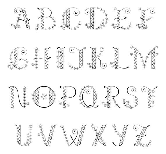 Vector Décoratif Alphabet Mignon Monogramme Lettrine Lettrine Lettre Majuscule Des Clip Art Imprimable Vecteur Téléchargement Immédiat Eps
