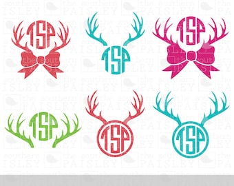 Deer Antler Monogram Frames - .svg/.eps/.dxf/.ai for Silhouette Studio, Cricut, or other cutting software