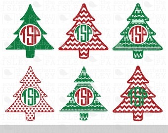 Christmas Tree Monogram Frames - .svg/.eps/.dxf/.ai for Silhouette Studio, Cricut, or other cutting software