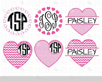 Valentine Heart Monogram Frames - .svg/.eps/.dxf/.ai for Silhouette Studio, Cricut, or other cutting software