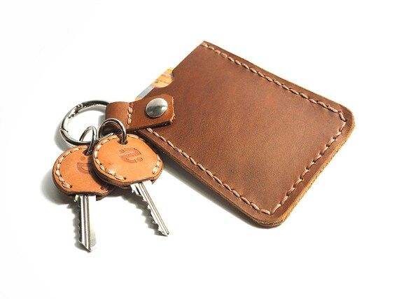 Keychain Card Holder Leather Card Case Leather Card Holder Etsy