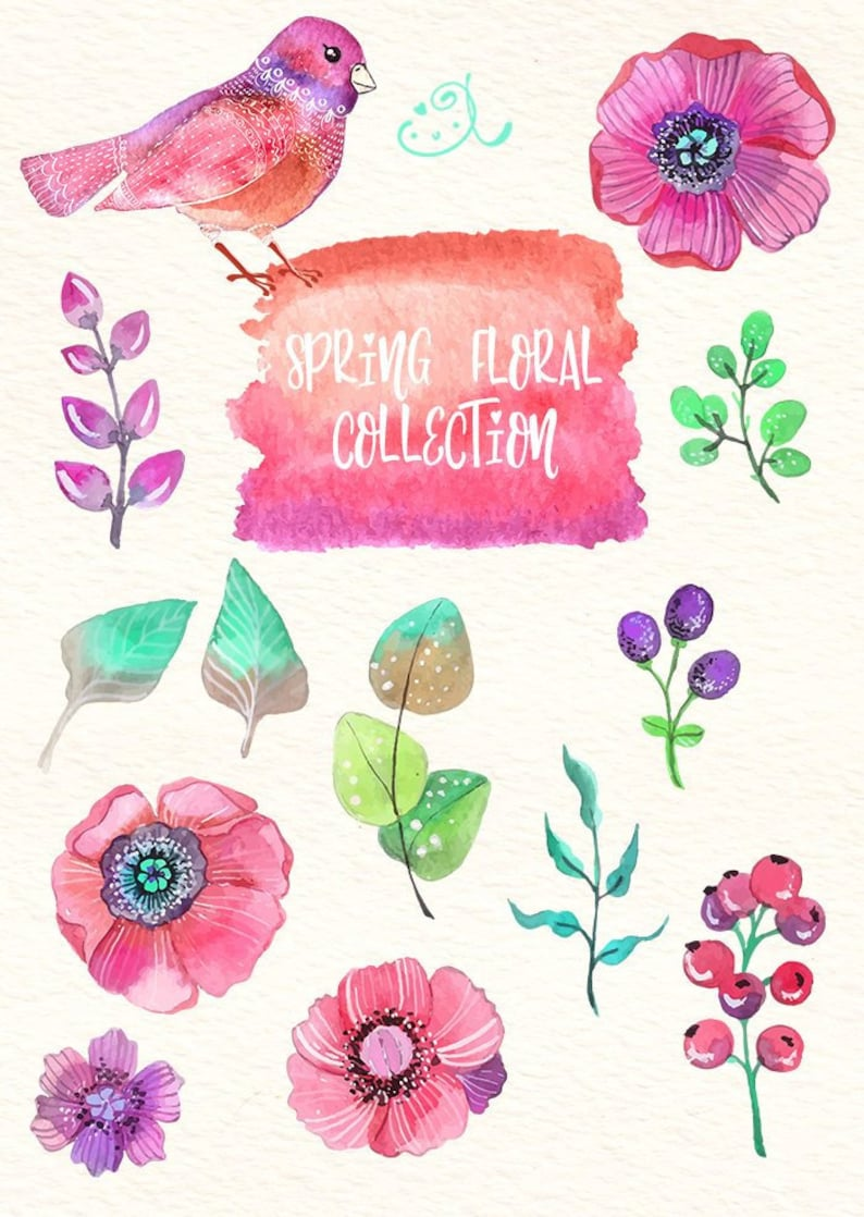 Printmaking Digital Watercolor Floral Art Woman Gift Ideas Floral Clipart Instant Download For Nursery Decor Design