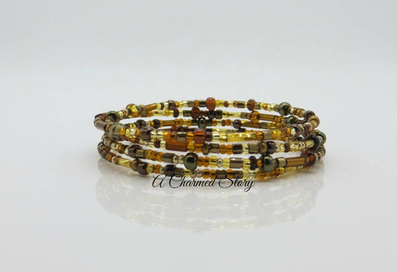 Gold and Brown Memory Wire Bracelet