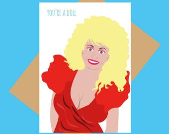 You're a doll - Dolly Parton greeting card - Dolly - Funny greeting card