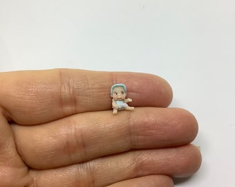 Miniature 48th 1/48 1/4 1:48 Quarter Scale Baby Boy Doll for Dollhouse Nursery