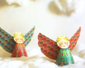 DIY Colorful Christmas Angels Papercraft | Red Green Ornaments / Paper Decor: Set of 2 | Printable A4 templates | No sticking | last minute