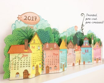 2017 Physical Calendar | 3D Landscape Desk Calendar made of Pre-cut, Pre-printed Paper | Quick DIY Papercraft NO GLUE | Desk Shelf Calender