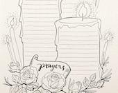 DOODLE Prayers Log Planner List Organizer Unique Creative Artistic Bullet Goals Dreams Hopes Journal Printable Letter A4 pdf templates