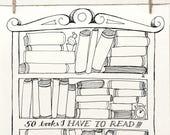 DOODLE Books to Read Planner List Organizer Printable Letter A4 pdf templates | Unique Bucket List Creative Artistic | Books Library