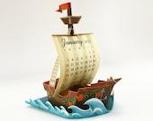 2022 Ship Calendar Printable | Boat Sailboat Desk Calender Colourful Miniature Paper Papercraft | Digital Letter size template pdf