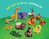 Set of 12 Printable DIY Mini Animal Paper Toys Educational Collectible Papercraft Endangered Species Conservation Save Wildlife pdf Letter