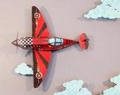 Printable Papercraft DIY Airplane | Colorful Candy Bomber | Aeroplane Model Kit WW2 War Spitfire Boy Gift | Instant digital download pdf A4