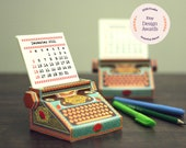 2022 DIY Printable Typewriter Desk Calendar | Colourful Miniature Paper Papercraft | A4 template pdf | Gift Colleague Writer Author