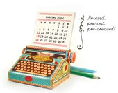 Printed 2021 and 2022 DIY Paper Desk Calendar Papercraft | Colorful Typewriter Miniature | Pre-cut Pre-creased Kit | Editor Writer Gift
