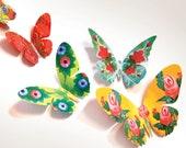 Printable Set of 12 Floral Paper Butterflies | home decor craft supplies scrapbooking wall art kids nursery artistic craft gift accessory