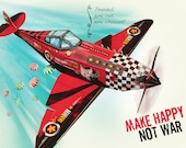 Printed Papercraft DIY Airplane | Colorful Candy Bomber | Aeroplane Model Kit WW2 War Spitfire Boy Gift | Pre-cut, Pre-creased Craft Kit