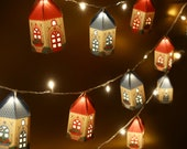 Printable DIY Mini Happy Home Lamp Shades Papercraft: Set of 2 designs | Christmas Lights Decor | Letter or A4 size Instant digital download