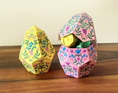 DIY Color-me Easter Egg - Paper Box Template Papercraft | Geometric Candy, Gift, or Favor Box | Craft Activity | Printable download pdf