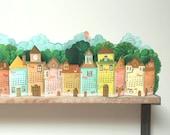 2021 Calendar | 3D Landscape Desk Calendar made of Paper | DIY Printable A4 template | Instant Download | Village Rustic Pretty Gift Shelf