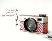 Printed Papercraft DIY Paper Camera Photo Frame | Realistic Black | Toy Desk Accessory | Pre-cut, Pre-creased Kit Photographer Photography