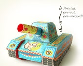 Printed Papercraft DIY Peace Tank | Colorful Paper Army Tank | 3 Boxes & Pen Stand | Blue War Boy Gift | Pre-cut, Pre-creased Craft Kit
