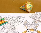 COLOR-ME Paper Ornament DIY Printable Papercraft / Activity Adult Mindful Coloring Papercrafts Home Decor | Letter A4 instant download pdf