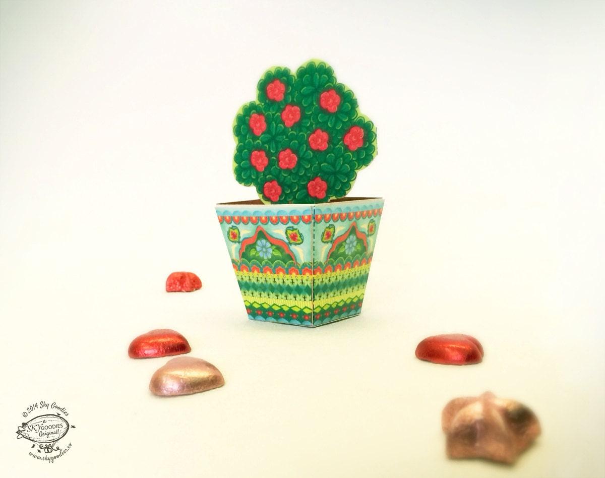 Diy Paper Toy Favor Box Container Miniature Flower Pot Etsy