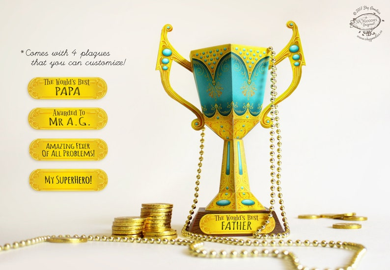 photo about Printable Trophy named Fathers Working day Present Printable Do it yourself Trophy Cup Papercraft Mate Dad Trainer Award Prize Wonder Blue Gold Design and style pdf template