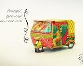 Printed Papercraft DIY Paper Box | Bombay Auto Rickshaw PINK design | Pre-cut, Pre-creased Kit | Tuktuk Asian Souvenir Coworker Gift Xmas