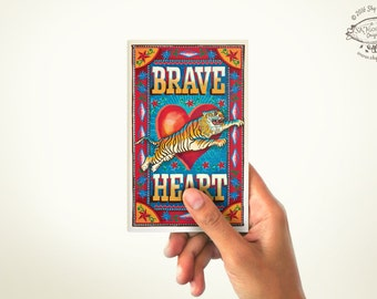 Brave Heart: Mini Note Book   PLAIN or RULED Paper   60 Pages   Matchbox Pocket Diary   Indian Pop Art Stationery Sketchbook Cultural Gift