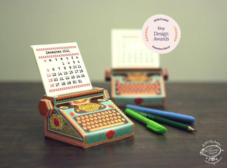 2021 and 2020 DIY Printable Typewriter Desk Calendar  image 0